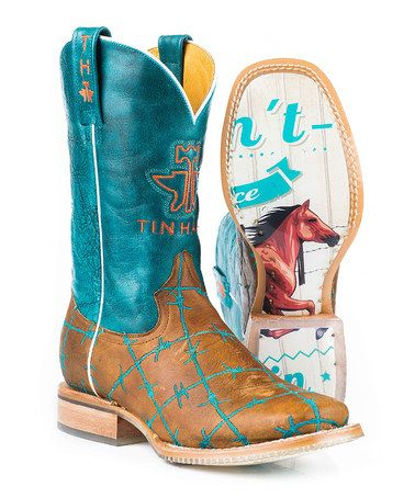 Another great find on #zulily! Tan & Teal Barb Wire Leather Cowboy Boot #zulilyfinds