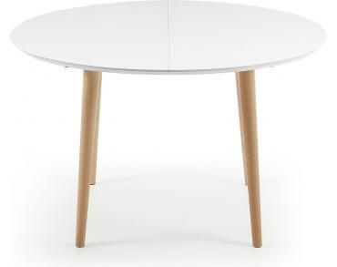 Eettafel Oqui - Wit - Bruine poten - 120-200 cm - Ovaal - Uitschuifbaar - Kavehome - Woonwebwinkel LiL.nl