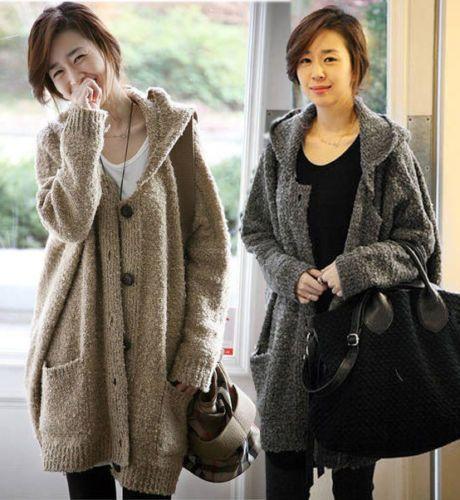 Oversized Hood Knitting Pattern : Details about Korea Women Oversized Hooded Cardigan ...