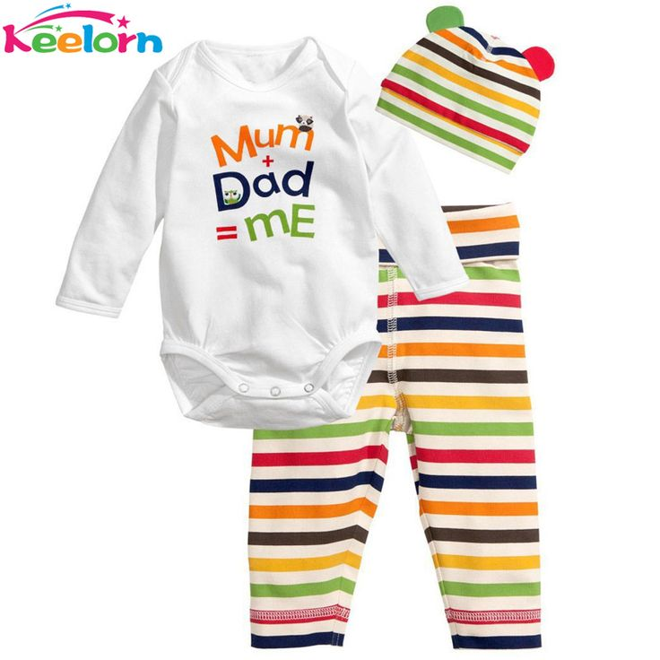 2017 New Cotton Children Casual Cartoon Baby Boys Girls Sets Clothes 3pcs(Long-Sleeved Romper+Hat+Pants) baby boy clothes