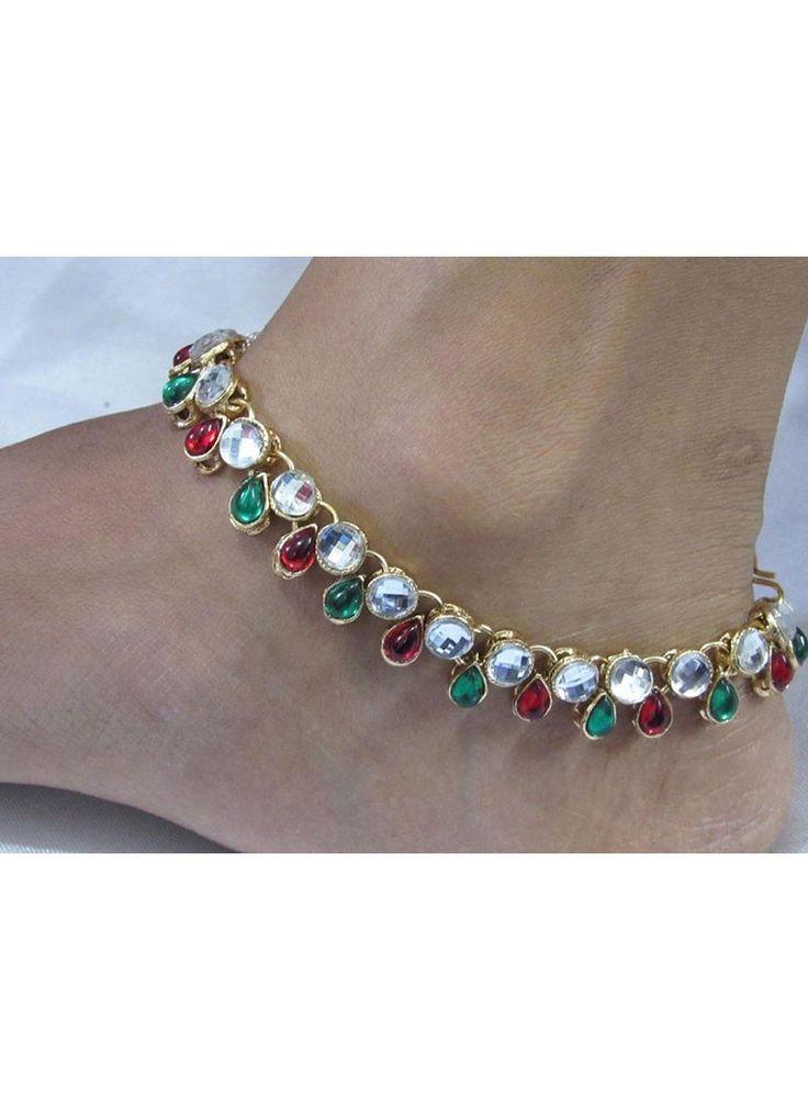 Shop Online Maroon Green #Anklet @Chennaistore.com