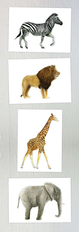 $5 Printable Safari Animal Watercolors by Mike Loveland for caravanshoppe.com