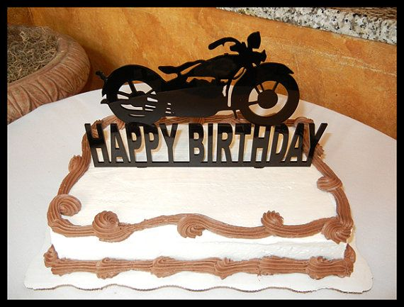 "Birthday Cake Topper MOTORCYCLE Birthday Decorations 10 "" wide x 6"" tall on Etsy, $32.50"