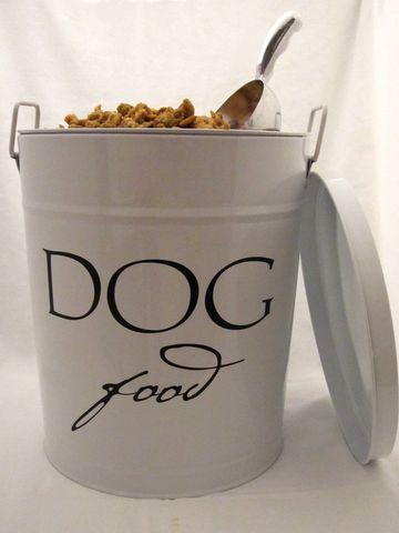 Dog food tin: Puppies Food, Treats, Mudroom, Perfect Puppies, Dog Food, Food Tins, Mud Rooms, Cupboards, Dogs Food Bins