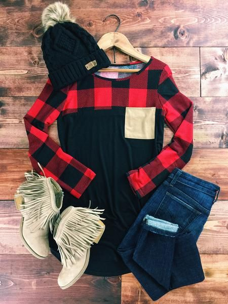 Buffalo Plaid Pocket Top. Rugged, yet classy, buffalo plaid top with contrasting faux suede pocket. Perfect for fall, winter, and all things festive! therollinj.com