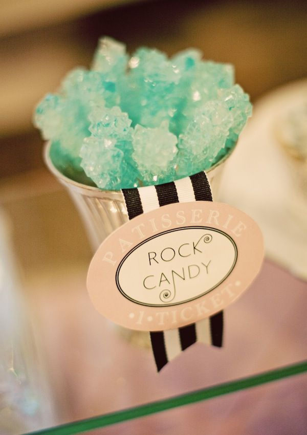 Mint green rock candy --- perfect for a wedding dessert buffet!