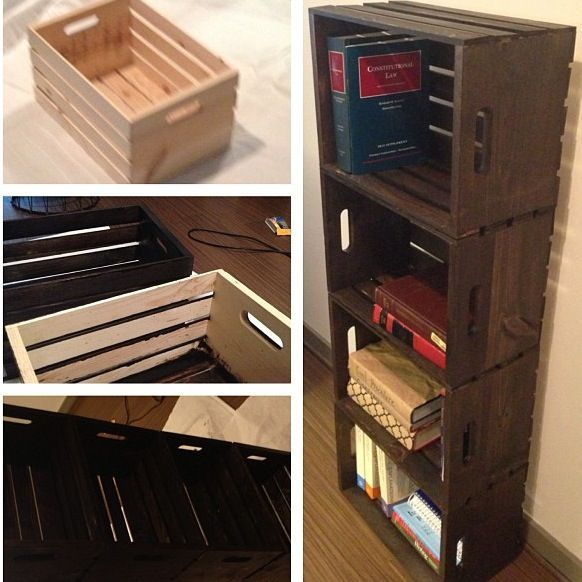 Law school craftiness on a budget! Made my own crate bookshelf for less than $30!