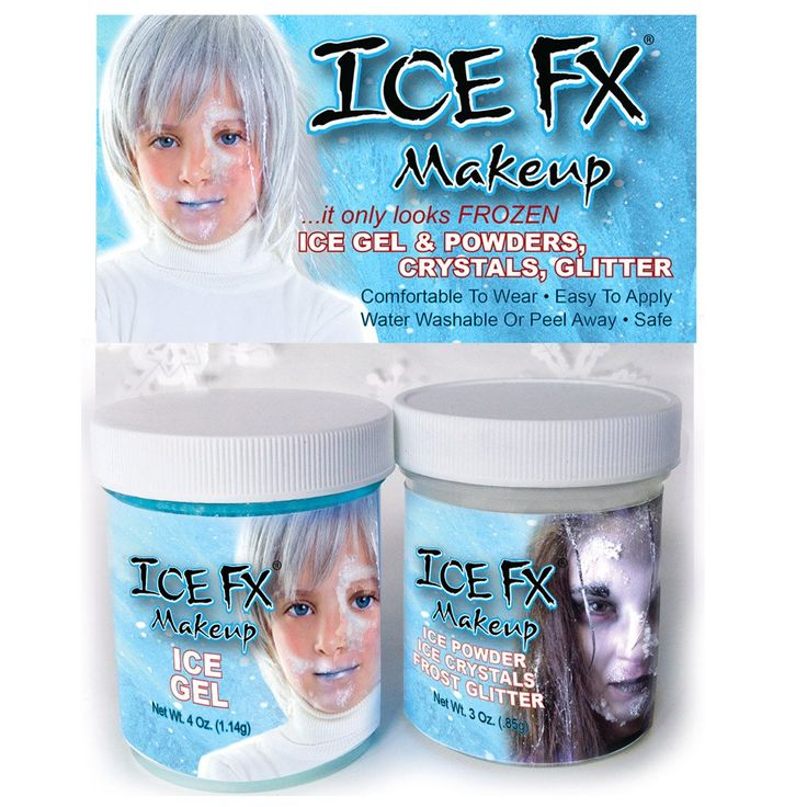 Our Ice FX Frozen Makeup Kit is designed for an even quicker Frozen look.  The kit comes with two jars; ICE GEL (4 oz.) and a jar of our special Frozen mixture that contains Large and Medium ICE CRYSTALS, ICE POWDER, ICE FLAKES and GLITTER.