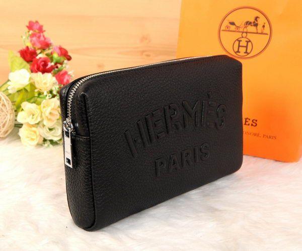 Hermes Grainy Leather Clutch H2152 Black