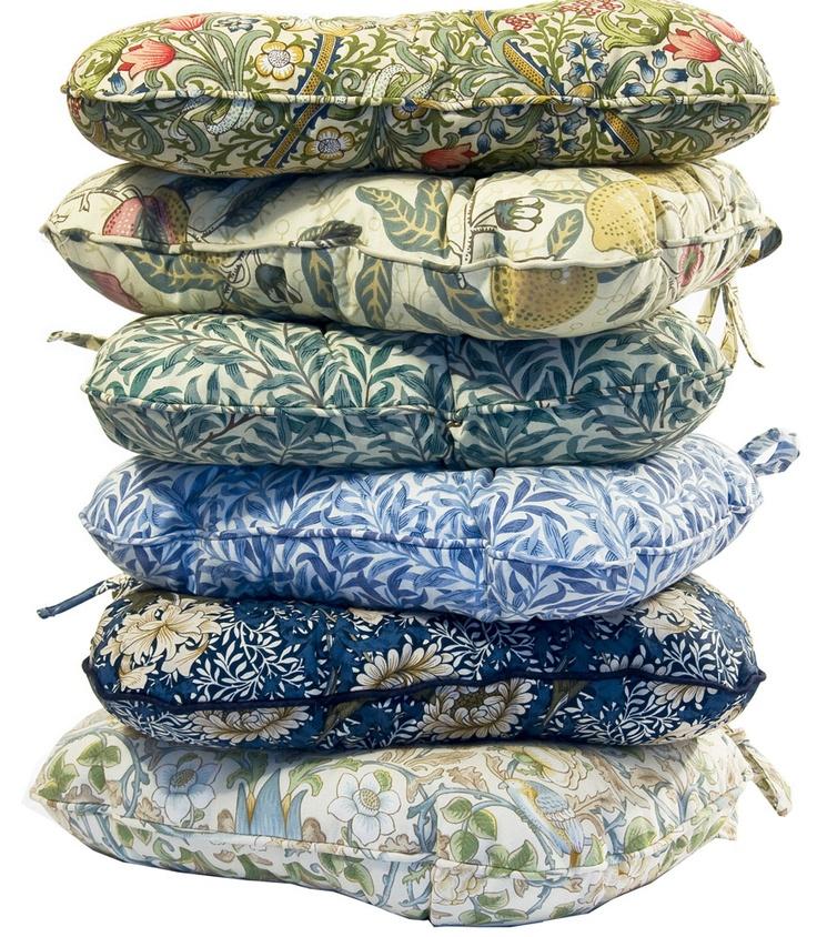 Chair cushions made using several William Morris fabrics