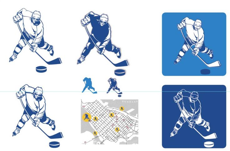 Vancouver winter olympics 2010, proposals for different versions of the detailed sports illustration to be used as pictograms. Ice hockey player.