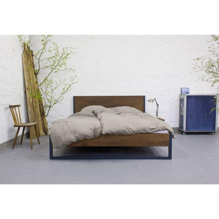 N51E12 Loft Vintage Industrial Bett Anthrazit Braun