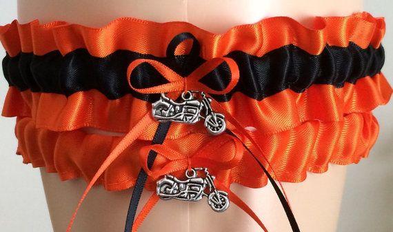 Orange And Black Wedding Garter Set Bridal Sets Garters Prom Weddings Personalized