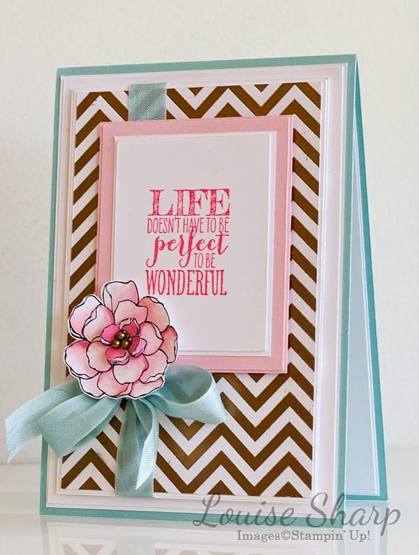 Stampin up positively chevron background stamp, secret garden & perfect pennants. Just Add Ink - By Louise Sharp