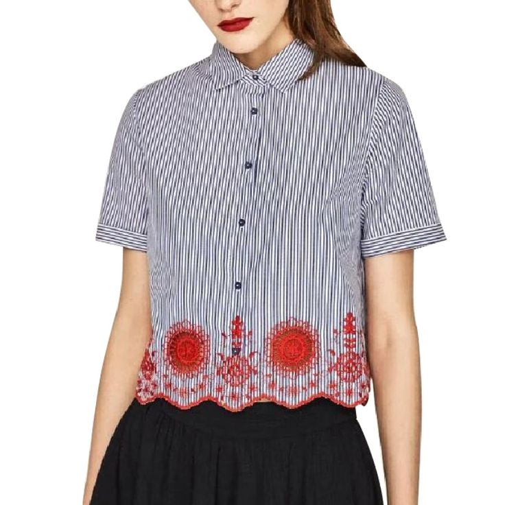 women Summer striped hollow out embroidery striped shirts short sleeve loose wave vintage blue blouses casual floral tops