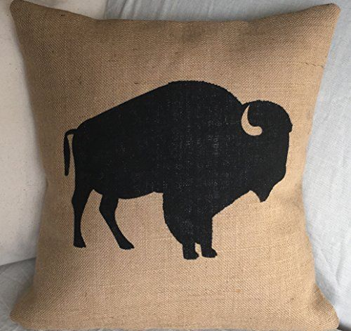 """Buffalo/Bison Burlap Pillow Cover - Fits A 16""""x16"""" Insert (not included). This fabulous handmade burlap pillow cover is made with high quality burlap and is painted by hand. Fits 16"""" x 16"""" Pillow insert (not included) Because the pillow insert must be larger than the pillow cover the actual pillow size will be slightly smaller than above measurements. Burlap is spot clean only. If you need to iron the pillowcase never iron directly on the painted area."""