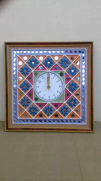 "Art Mud & mirror work 12""*12"" clock"