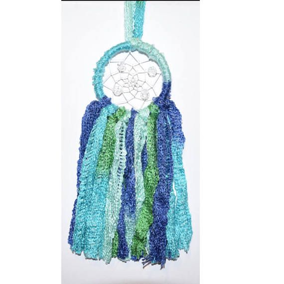 3 Inch Light Blue and Green Multicolour Wool Dream Catcher