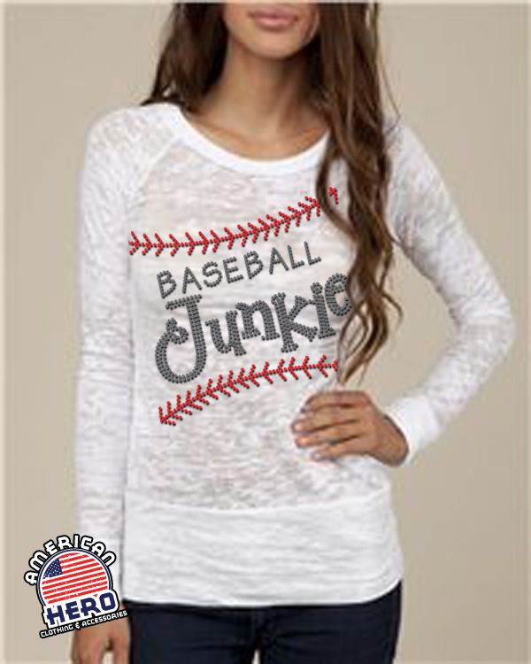 Baseball Junkie on long sleeve raglan burnout, exclusively at American Hero Clothing! Baseball mom