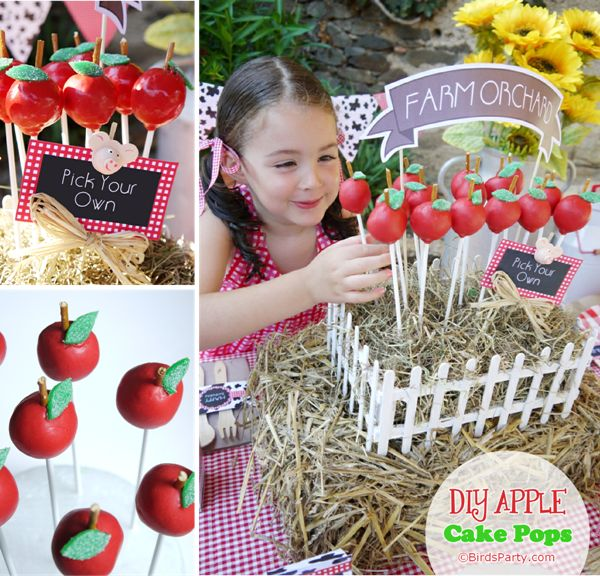 Bird's Party Blog: CAKE IT PRETTY: DIY Apple Cake Pops + Centerpiece Display