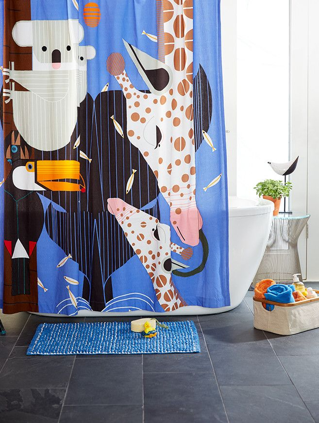 Bathroom with Zoo Babies Shower Curtain, Charley Harper for Nod