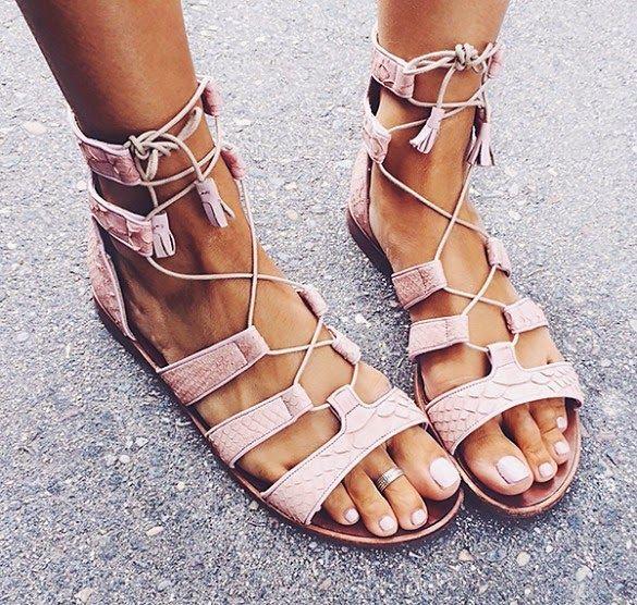 pastel pink gladiator sandals