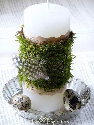 Maak van een saaie kaars - case iets moois! Voorjaar - lente - spring