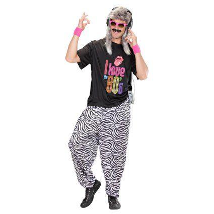 Pantaloni da jogging zebrati anni 80 allenamento calzoni tuta travestimento abbigliamento - M/L 50/56