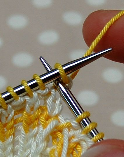 A Cable Cast On is a good way to cast on stitches in the middle of your knitting. Often a pattern asks you to be knitting along and then says, cast on some number of stitches. I almost always use a Cable Cast On in that situation. This example comes from our Baby Bloomers Project Journal.