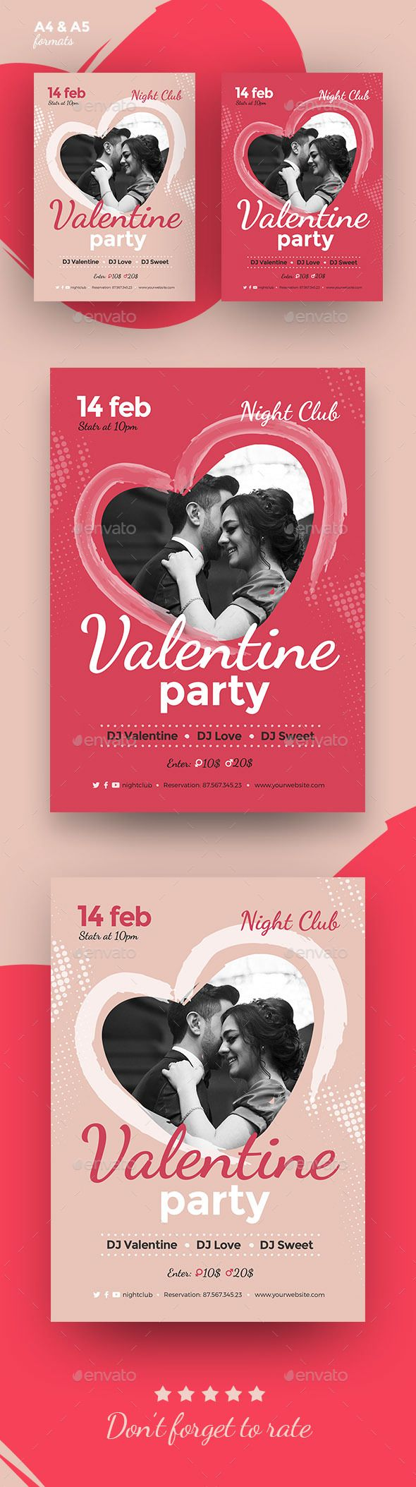 valentines day flyer poster event template ai illustrator - Valentine Poster