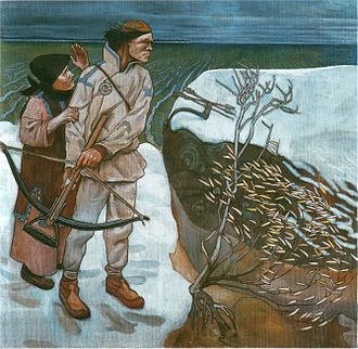 Akseli Gallen-Kallela: La venganza de Joukahainen (Joukahaisen kosto, 1897). Temple en lienzo. Joukahainen se dispone a disparar una flecha a Väinämöinen.