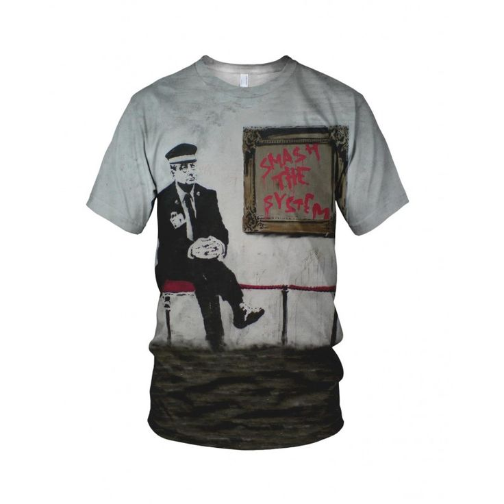 """Smash The system, from the collection of """"Hand Printed"""" Designs by the prolific street artist known as """"Banksy"""".   More Designs and Styles on the Store: http://www.globalmusicollective.com/store/?product_cat=banksy"""