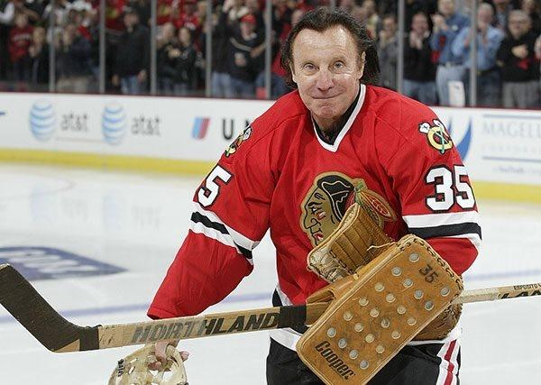Tony Esposito back on the ice #chicago #blackhawks #tony #esposito #goalie #nhl #vintage #nomask #nhl