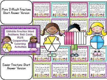Editable Differentiated Fraction Word Problem Task Cards & Cooperative Games