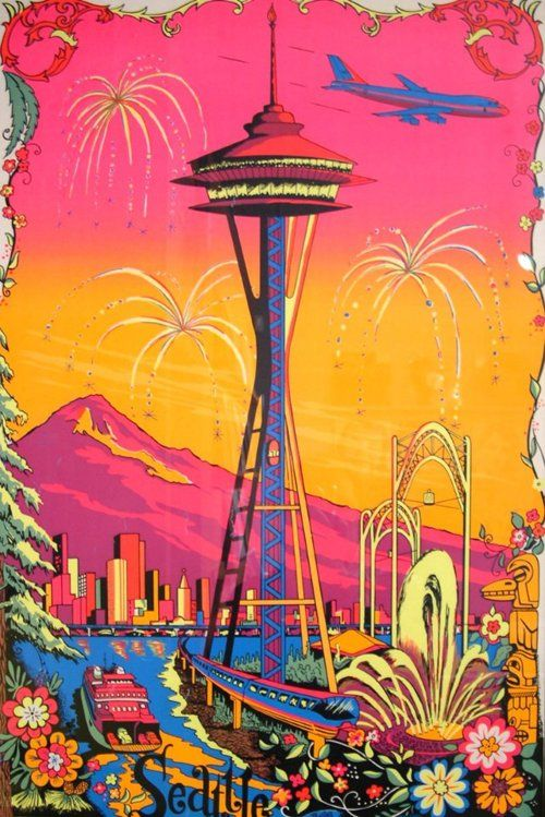 743 best psychedelic images on pinterest gig poster psychedelic this very groovy and psychedelic black light space needle poster hangs at jive time records in fandeluxe Gallery