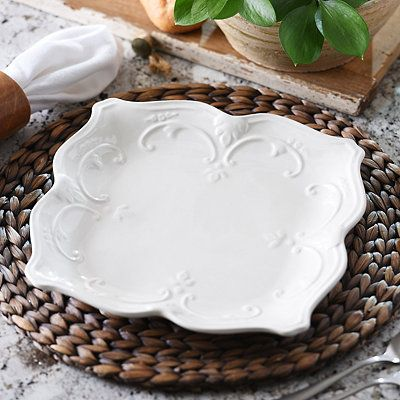 Part of the sweet olive dinnerware collection this white ceramic dinner plate features an elegant vine design and beautifully scalloped edges. & 59 best Kitchen images on Pinterest | Dish sets Dinnerware sets and ...