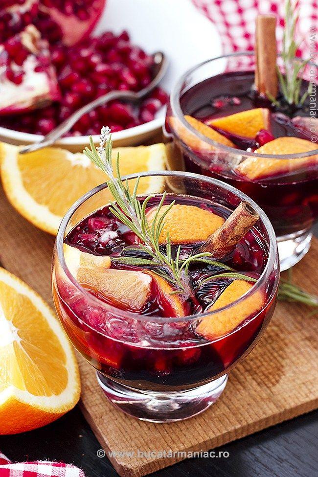 Sangria cu portocale, rodii și scorțișoară