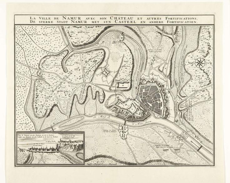 Nicolaes Visscher (II) | Kaart van de stad Namen met het kasteel, belegerd door het Franse leger, 1692, Nicolaes Visscher (II), 1692 | Kaart van de stad Namen met het kasteel, belegerd door het Franse leger, 25 mei - 30 juni 1692. Linksonder een inzet met een gezicht op stad en kasteel.
