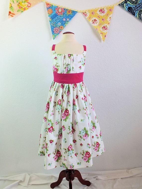 Girls boutique sun dress in designer fabric by TheMulberriBush