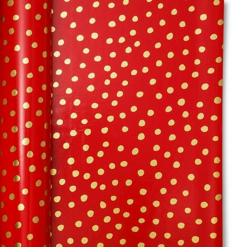 Sugar Paper Red with Gold Dots Gift Wrap