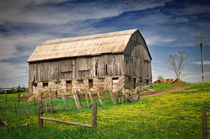 Old wooden barn in Caledon, Ontario.