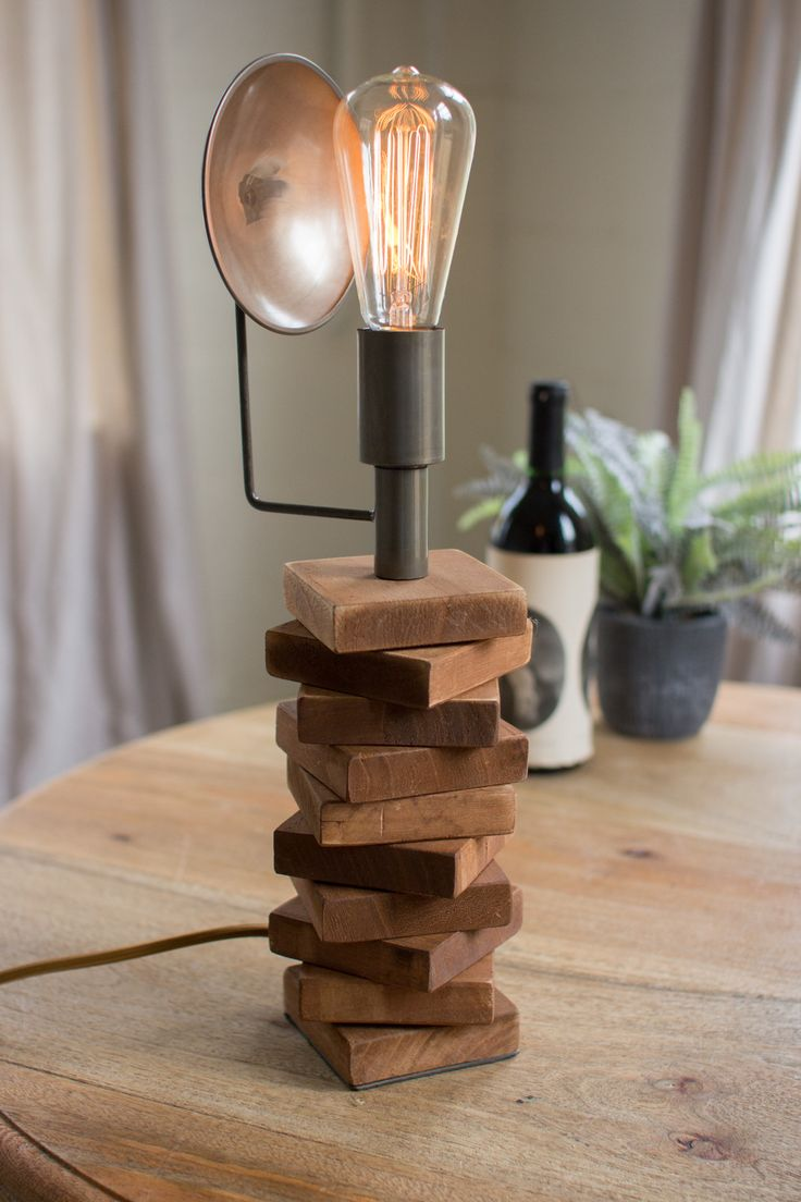 kalalou recycled honey wood and metal table lamp