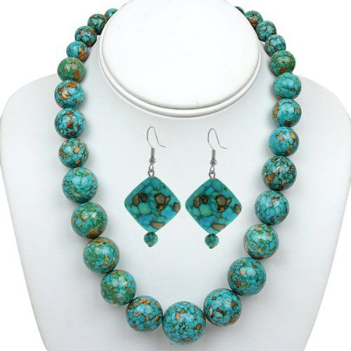 "18"" Stunning Round Beads Turquoise Howlite Graduated Necklace and Earrings Set Gem Stone King. Save 75 Off!. $24.99. 140 Grams. Natural Turquoise. 18"" Round Bead Turquoise Necklace and Earrings Set"