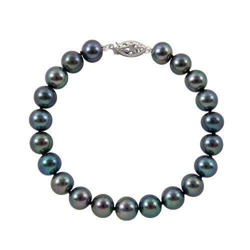 "6-6.5mm 8"" Black Freshwater Pearl Bracelet ""AA"" with 14K White Gold , Free Shipping and Gift Box Joy De Mer. $43.00. 100% Silk Thread. 8"" Black Freshwater Pearl Bracelet. Free shipping, gift box, bag, cleaning kit, pearl care and information guide. 14K White Gold Clasp. ""AA"" Quality Pearls. Save 73%!"