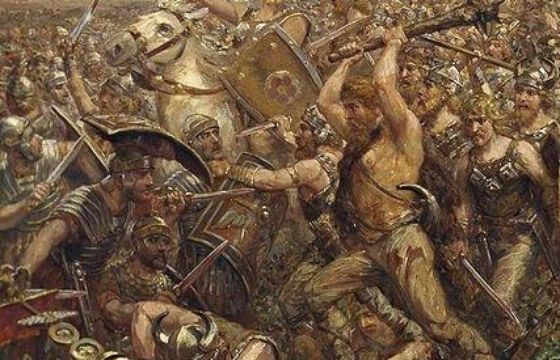 The Battle of the Teutoburg Forest described as clades Variana (the Varian disaster) by Roman historians, took place in 9 CE, when an alliance of Germanic tribes led by Arminius of the Cherusci ambushed and destroyed 3 Roman legions, along with their auxiliaries, led by Publius Quinctilius Varus. Despite numerous campaigns and raids by the Roman army over the Rhine in the years after the battle, they were to make no more concerted attempts to conquer and permanently hold Germania.