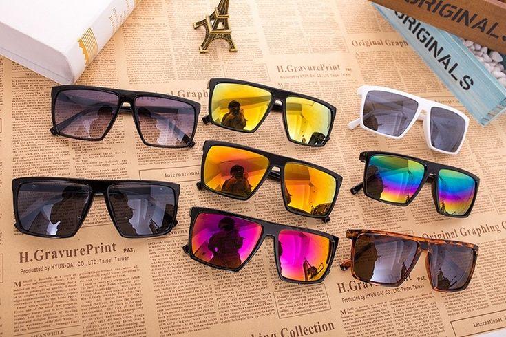 Солнцезащитные квадратные очки полуавиаторы (в наличии черные зеркальные сине-зеленые и коричневые дымчатые) - 1