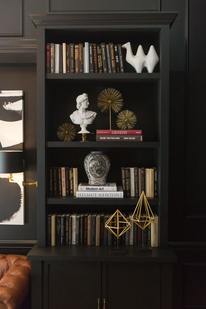 A Lovely Library. One Room Challenge: The Reveal Sappington Villa Bedroom. Black walls. Interior Designer: Jessie Miller.: