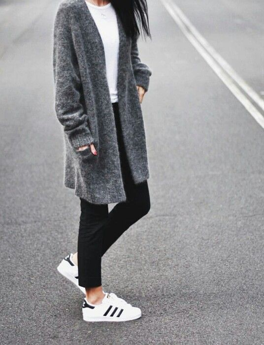 White tee shirt, Black Jeans/leggings, grey cardigan, Adidas Superstar via  Blendz.