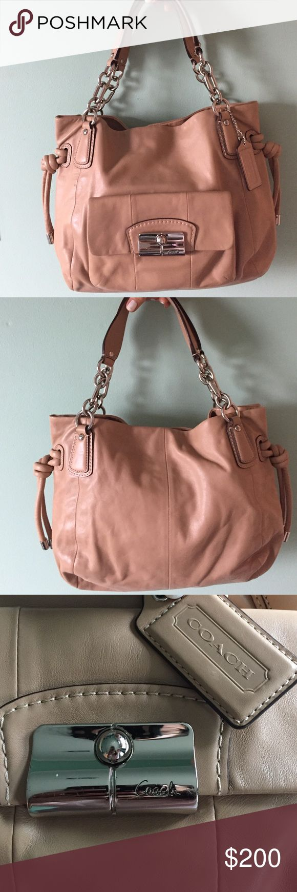 Coach Leather Bag Used only once! Kept in perfect condition and no damage to the bottom of the bag. The Leather is very soft and high quality. Purchased from a coach shop in LA. Interior is in great condition as well. This is truly a beautiful piece that can complete any outfit. All zippers and locks work perfectly. Comes with original Coach dust bag. No returns so please be sure :) Coach Bags Shoulder Bags