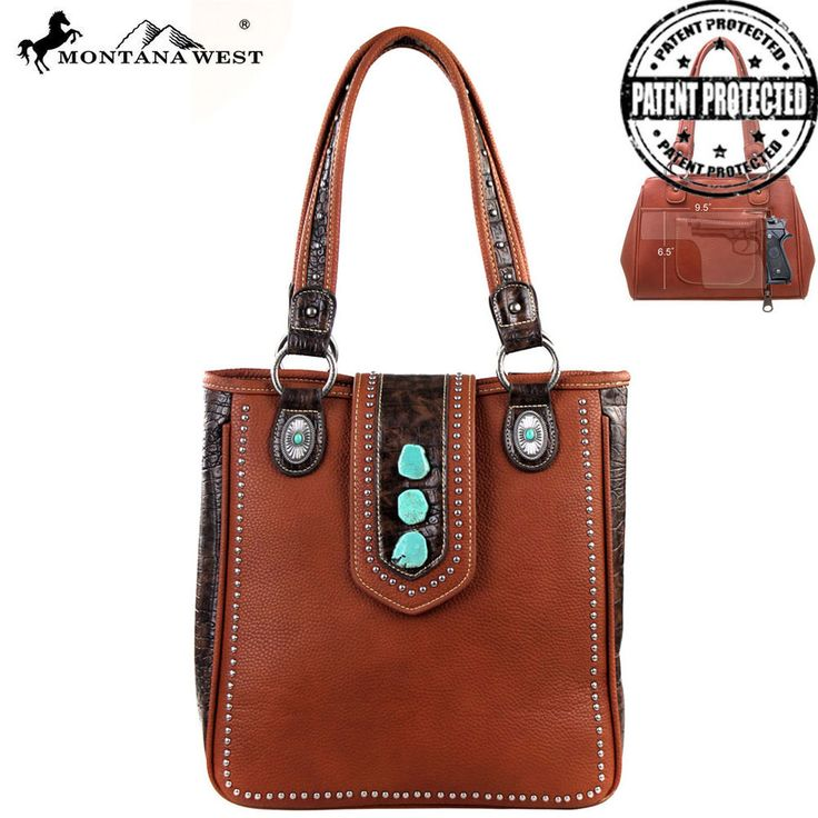Montana West Concealed Carry Purse Concealment CCW Western Tooled Gun Bag Brown #MontanaWest #ShoulderBag